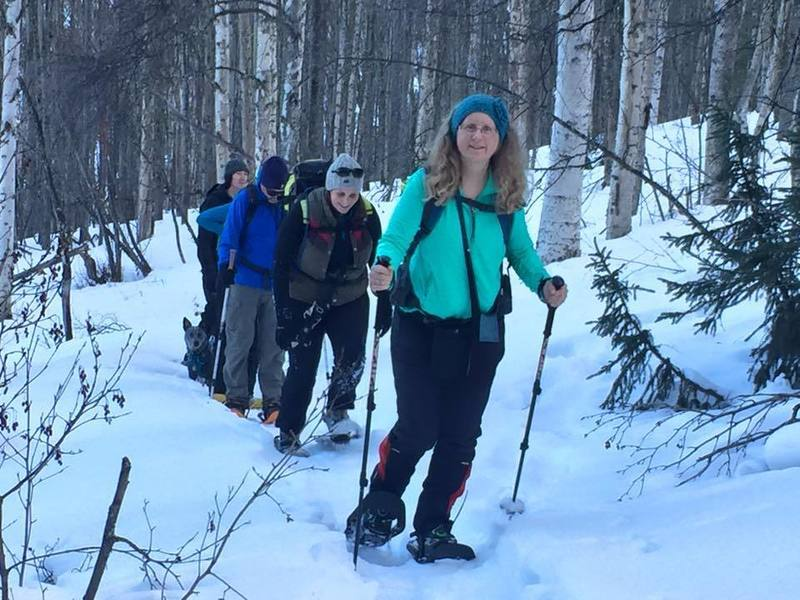Fairbanks Area Hiking Club hitting the trails for a snowshoe hike.