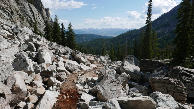 The talus slope below Alice Lake as seen from the Pettit Creek Trail, looking at the White Cloud Wilderness.