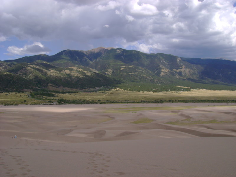 View back toward the Sangre de Cristos and the Visitor Center from High Dune.