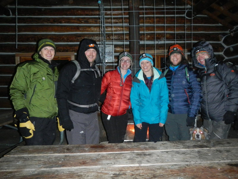 Getting warm after a moon lite snowshoe.
