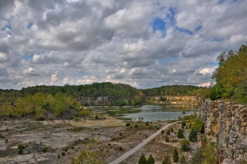 This is a view from the Rim Trail out over the quarry.