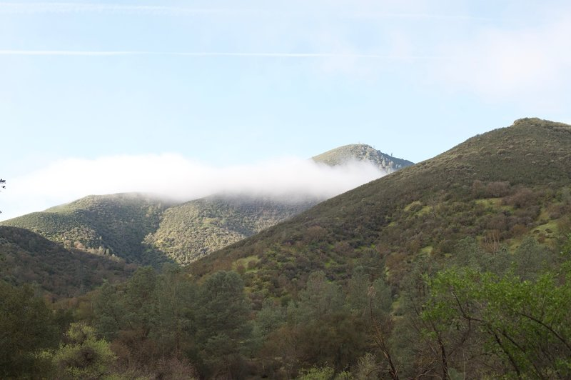Clouds hug the hills above the trail. The area is green due to it being winter and the rains providing moisture in this dry region.