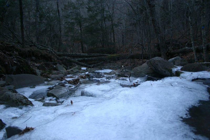 Crossing of Biscuit Brook in the winter. Watch out for ice!