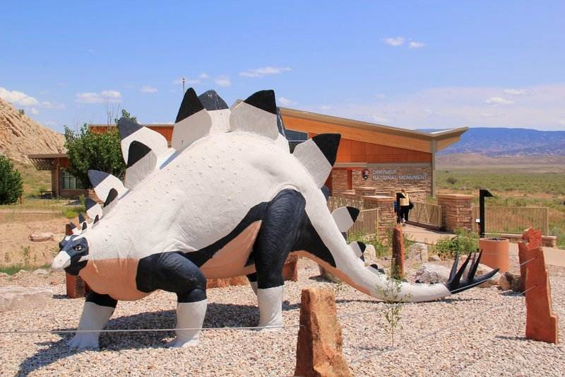 Stegosaurus welcomes you to the Dinosaur National Monument visitor center.