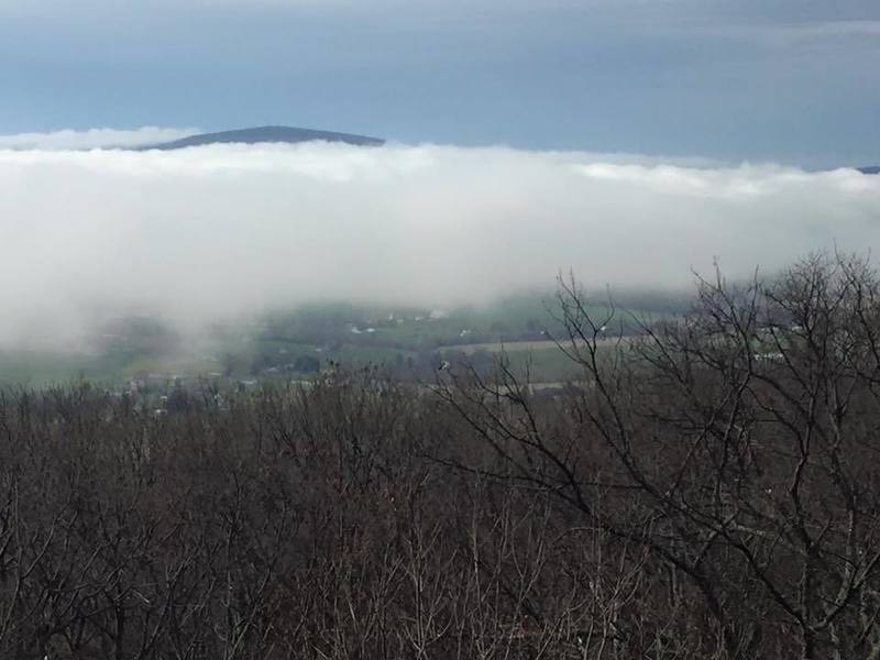 Gambrill Overlook. South Mountain emerges as fog burns off.