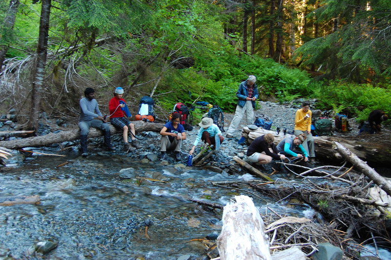 The group, re-fueling on Hoh River Trail.