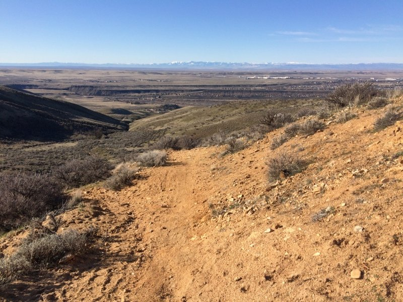 Halfway down Cobb Trail, with the Owyhees across the valley in the distance.