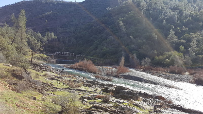 View of Ponderosa Bridge from the trail.