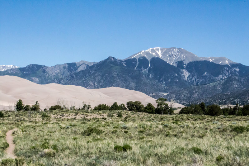 A blue sky day at the Great Sand Dunes.