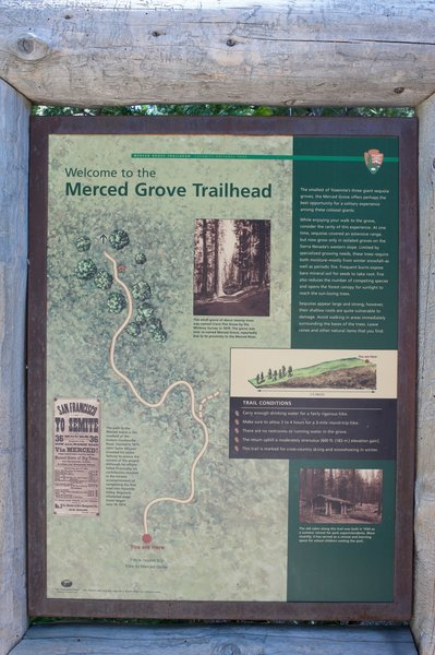 Information for the Merced Grove Trailhead. You get an idea of what the trail is like and where the trees are.