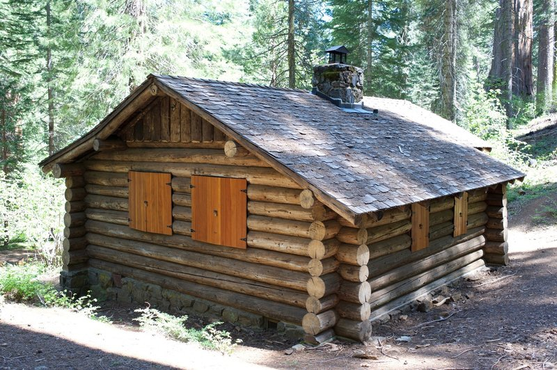 The cabin in the Giant Sequoia grove.