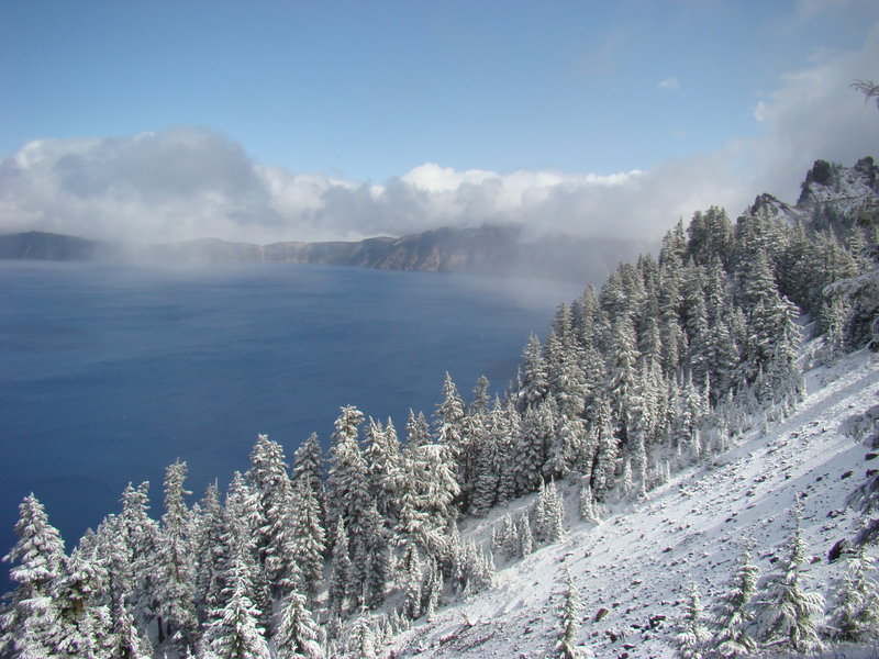 Early snow at Crater Lake.