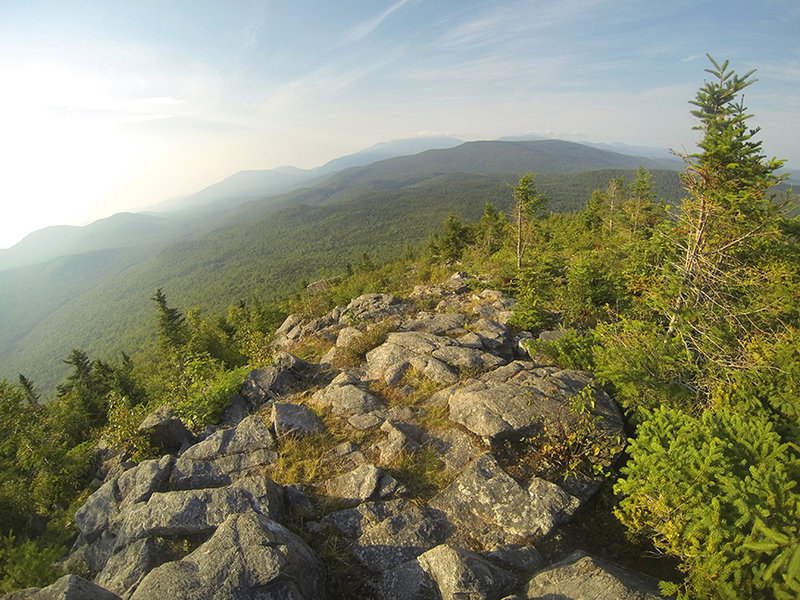 The view south towards Katahdin from the top of Black Cat Mtn. When you get to this point, hang to the right treeline and keep looking right as the trail will dip down this way.