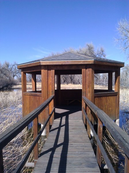 The Rookery Gazebo makes for a great place to rest and view the wildlife.