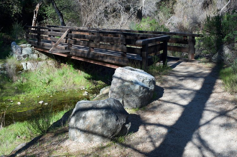 One bridge crossing the creek on the Old Pinnacles Trail.  The trails through this area cross this creek several times.