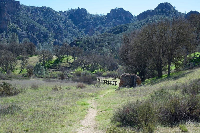 The picnic area comes into view as you approach the Chaparral area of the park.