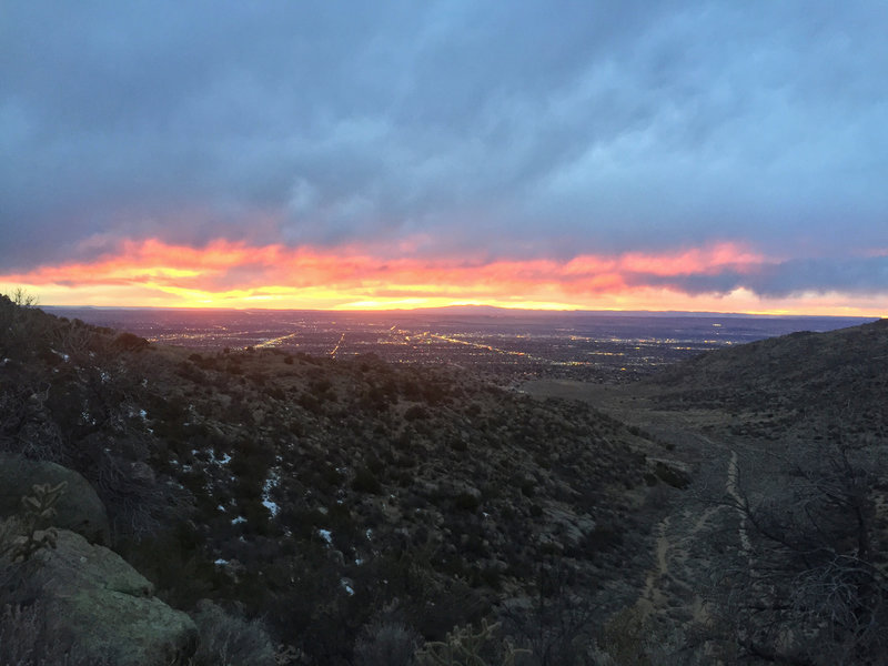 Embudo Horse Trail's higher route provides several scenic overlooks of Albuquerque. Embudo Trail is visible to the right.