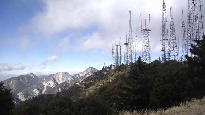 Looking at Mt. Wilson Radio Towers from the Mt. Wilson Trail Junction.
