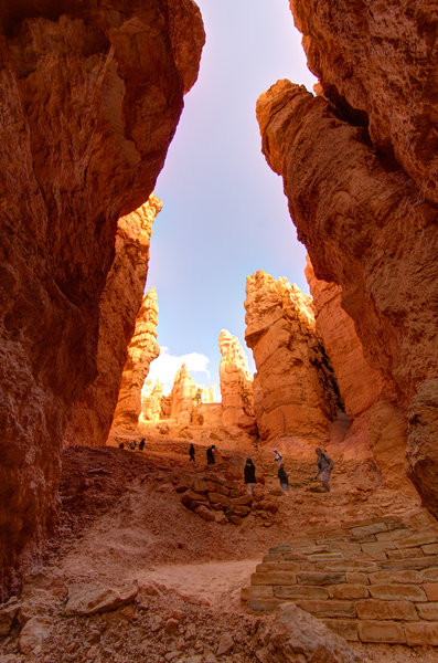 Visitors admire Wall Street at Bryce Canyon.