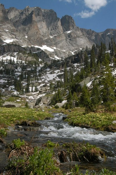 The sheer rock walls of the Continental Divide loom majestically over open meadows and early summer snow.