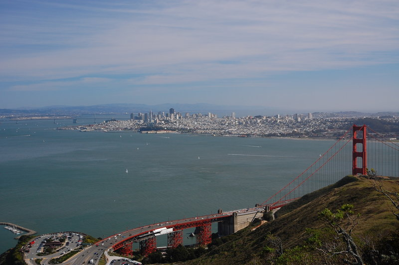 View of the Bay and Golden Gate Bridge.