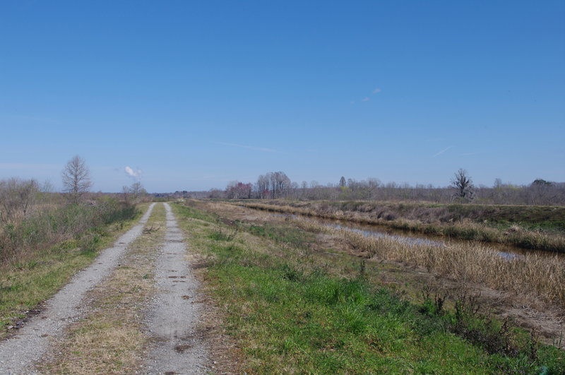 The eastern end of the trail running along the diversion canal.