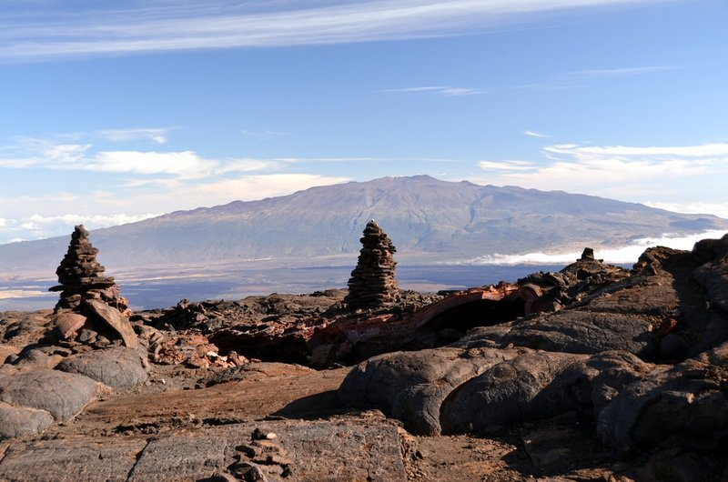 Cairns of Mauna Loa with Mauna Kea on the background. with permission from Andrew Stehlik