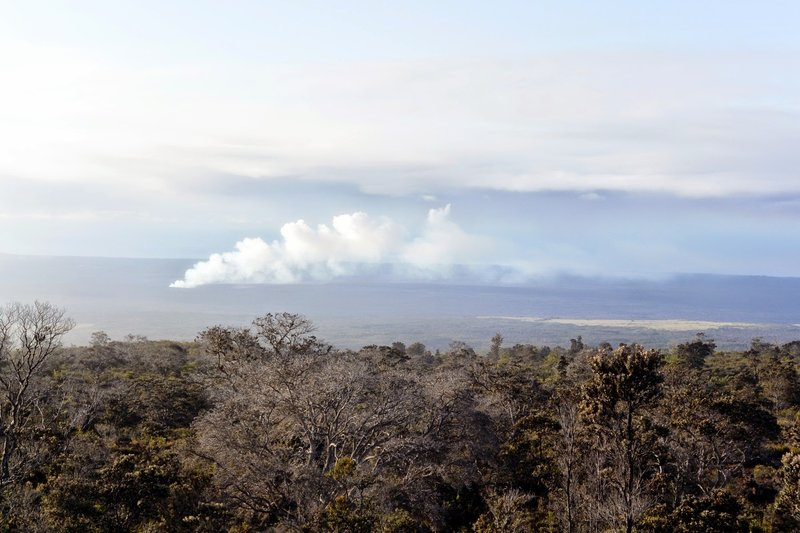 Kilauea smoking in the distance. with permission from Andrew Stehlik