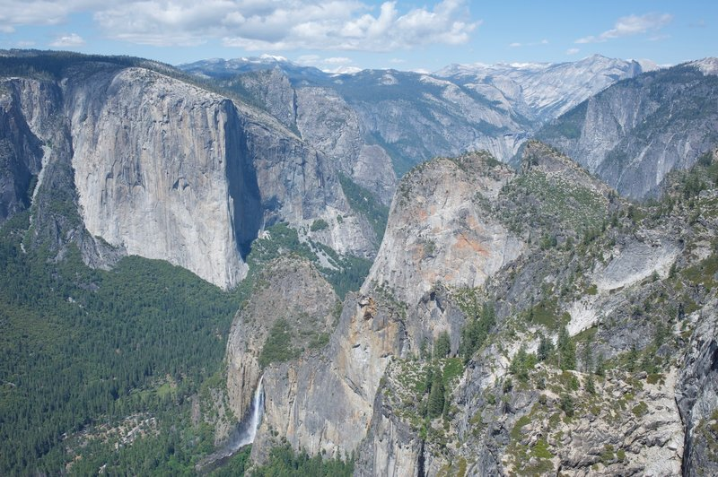 A view from Crocker Point over the edge. You can see Bridalveil Falls, El Capitan, 3 Brothers, Clouds Rest, Half Dome, and other famous formations. It's a great view looking back up the valley.