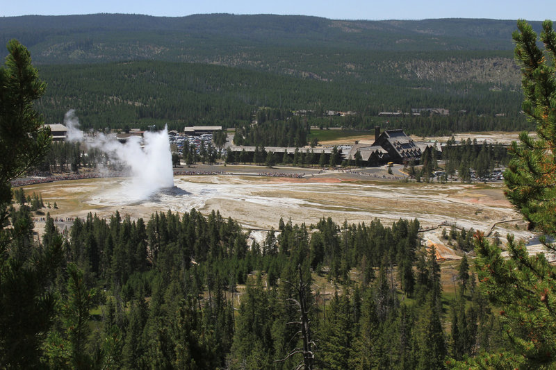 Observation Point affords a bird's-eye view of Old Faithful! Photo courtesy of the National Park Service.