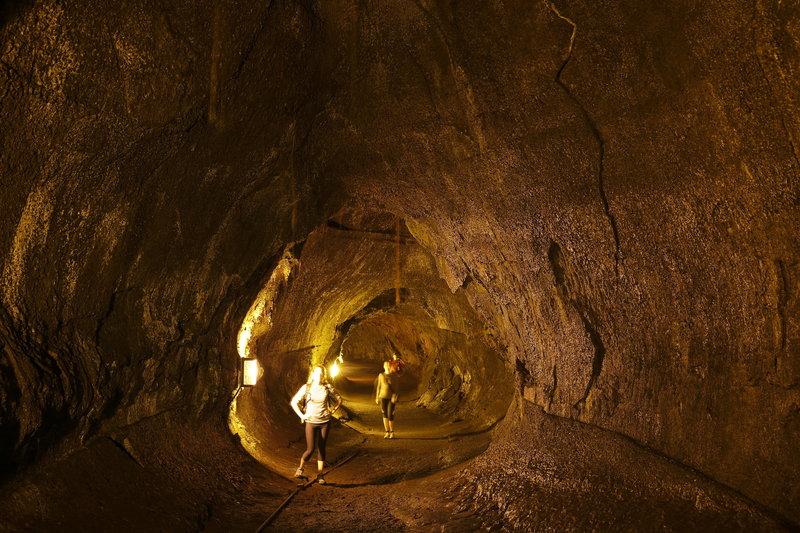 Inside the huge Thurston Lava Tube.