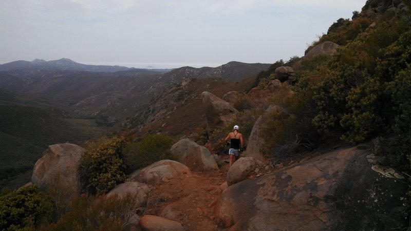 Running along the rim of the canyon on the north side, just before dropping down the switchbacks.
