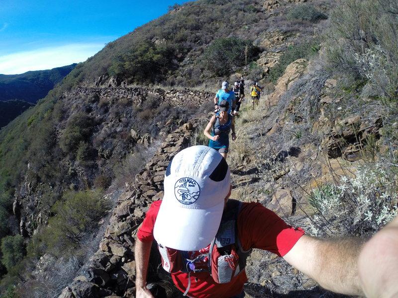 A long stretch of trail follows an historic rock wall.
