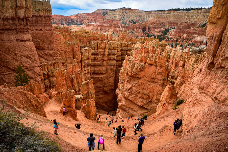 Park visitors get up close and personal with the surrounding canyons.