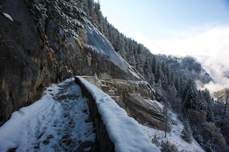 The ice-cut, running under Panorama Cliffs, is part of the Muir Trail that closes in the winter due to ice and other hazardous winter conditions.  This was after a snow fall in early November that blanketed the valley.