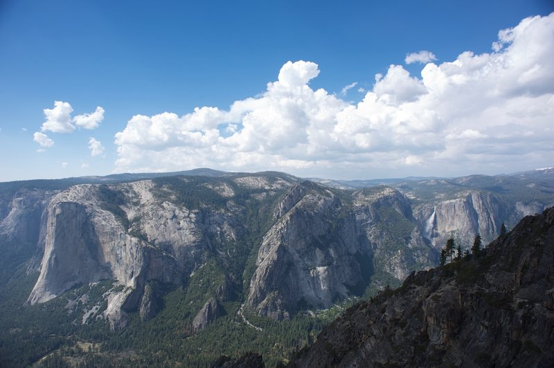 El Capitan, the Three Brothers, and Yosemite Falls from Taft Point.