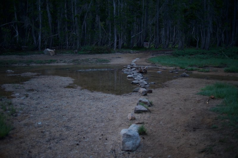 The trail crossing the outlet of Tenaya Lake.