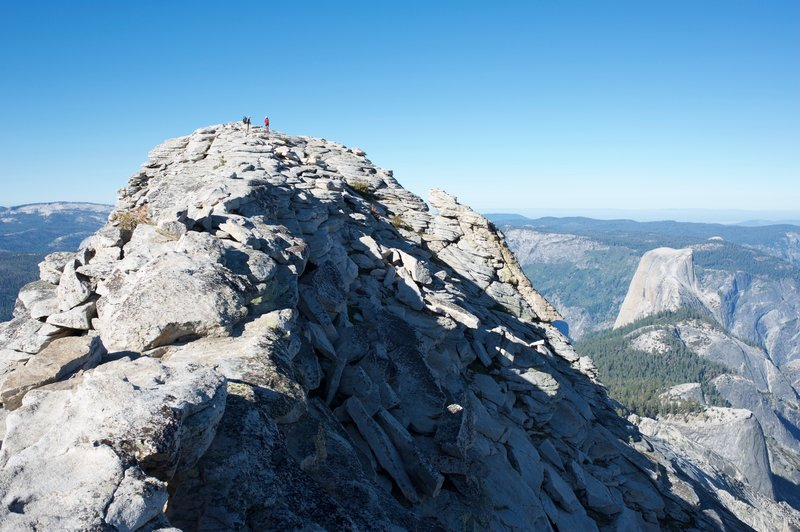 Approaching the summit with Half Dome off in the distance.