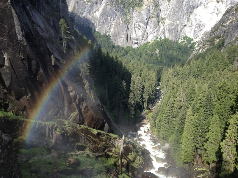 Looking over the edge at Vernal Falls, a rainbow appears above the Mist Trail.  It's a great hike in the spring as there's usually lots of water.  Make sure you bring appropriate rain gear and prepare to get wet.