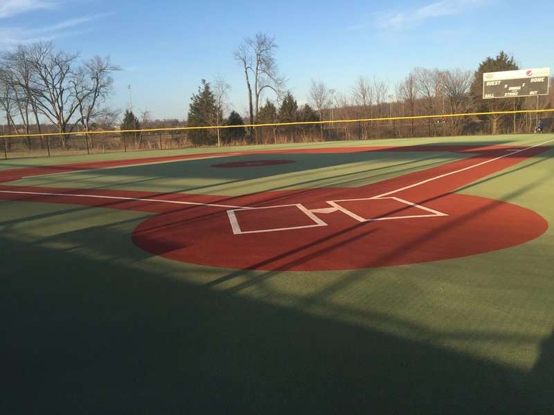 """The """"Miracle Field"""" at Elizabethtown Sports Park. This is a view from behind home plate of one of the very few handicapped accessible and fully Americans with Disabilities Act (ADA) compliant baseball fields found in the United States."""
