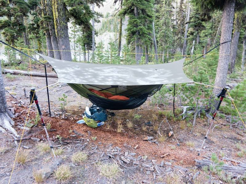 A frosty morning at Cliff Lake.  You can see the lack of frost on the ground under my hammock/tarp.