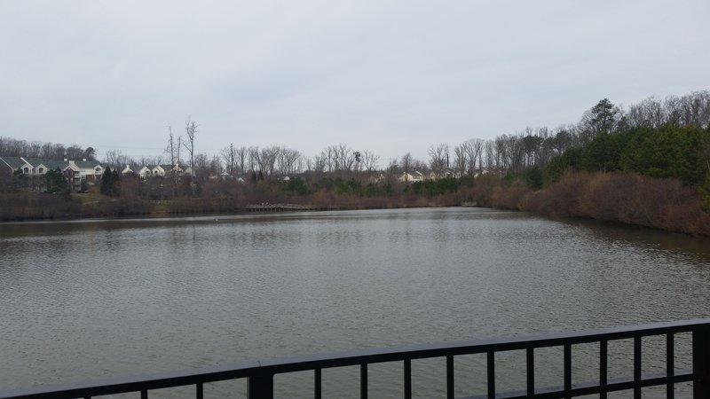 View of pond - total distance around the pond is almost .5 miles.