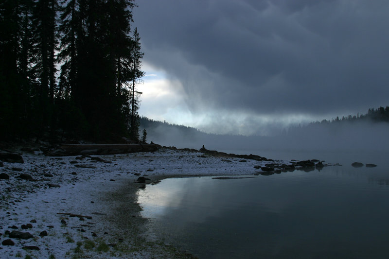 Snow over Juniper Lake.