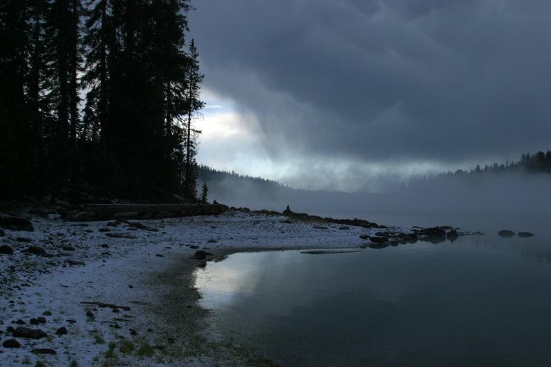 Snow over Juniper Lake.