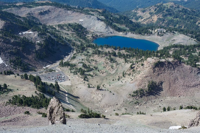 Looking down at the parking lot and Lake Helen as you climb up Lassen Peak.