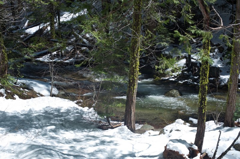 Here you come to Tamarack Creek that must be crossed.  It's an easy rock hop when the water is down, but in the spring when the snow is melting, it can be trickier to cross.
