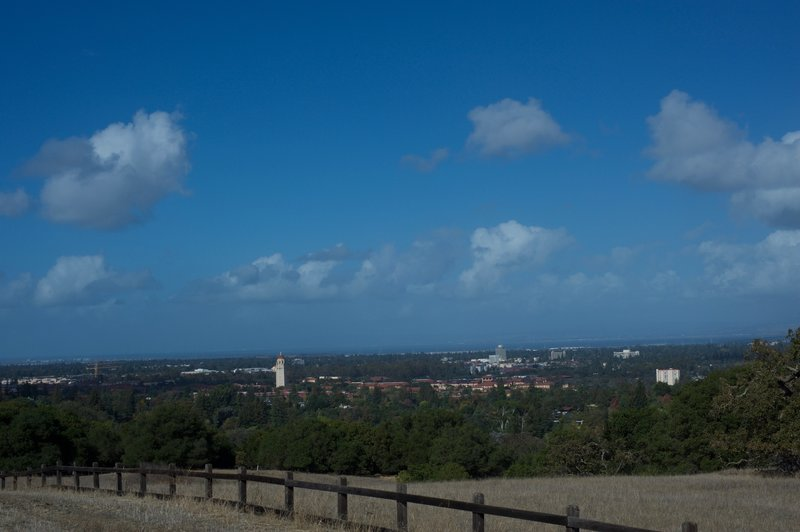 The Stanford Campus and Hoover Tower spread out on the lefthand side of the trail. The 285 foot tower was completed in 1941.