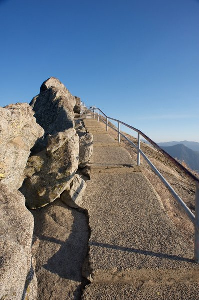 Nearing the top of Moro Rock, all that is keeping you from going over the edge is a guard rail.