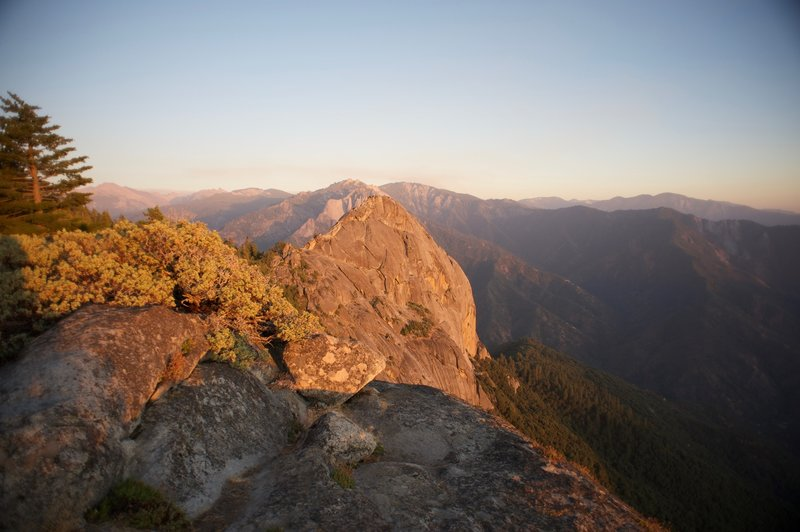 Moro Rock at sunset seen from the Hanging Rock Spur Trail.