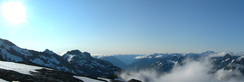 Morning view from Sahale Arm campsite, late July.
